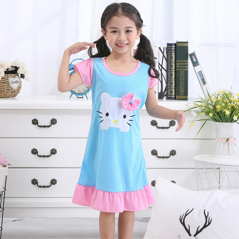 ed5f0b1320c06 2019 New Girl Nightdress Baby Pajamas Cotton Princess Nightgown Kids Home  Dress Summer Dresses Big ...