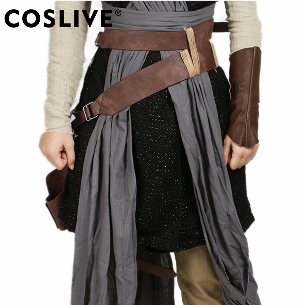 Coslive 2019 Halloween Movie Cosplay Star Wars Episode VIII The Last Jedi Rey Brown PU Leather Cosplay New Version Props