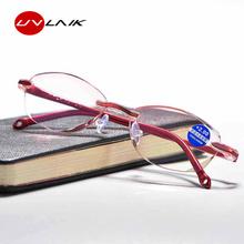 UVLAIK Anti Blu Light Reading okulary bez oprawki prezbiopia pamięć nadwzroczność bezramowe okulary powiększające + 1 0 + 1 5 + 2 0 + 2 5 + 3 0 tanie tanio Jasne Kobiety Lustro 3 3cm Z tworzywa sztucznego Okulary do czytania 5 1cm 200002198 200002146