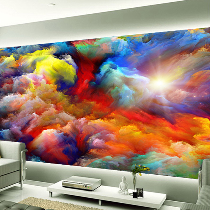 Background Colorful Room: Customized 3D Wall Mural Wallpaper Colorful Clouds Living