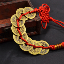 Red Chinese Knot Ancient 8 Copper Coins Feng Shui Lucky Charm