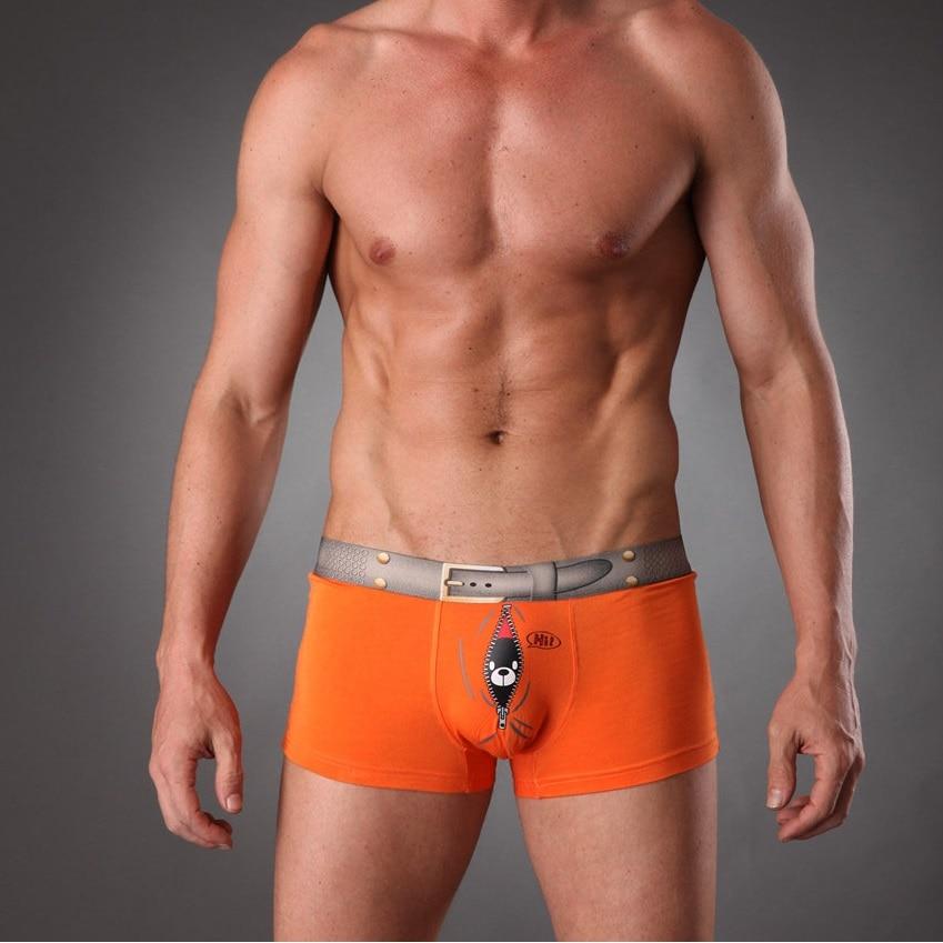 DMen's Underwear Boxer Trunks Fancy Sex Underpant Gay Erotic Cuecas Shorts Bear Bird Belt Cute Panties For Man Plus Size 3XL1343