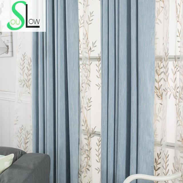 Slow Soul Blue Green Gray Brown Modern Simple Pure Shading Hotel Curtains French Window Solid For