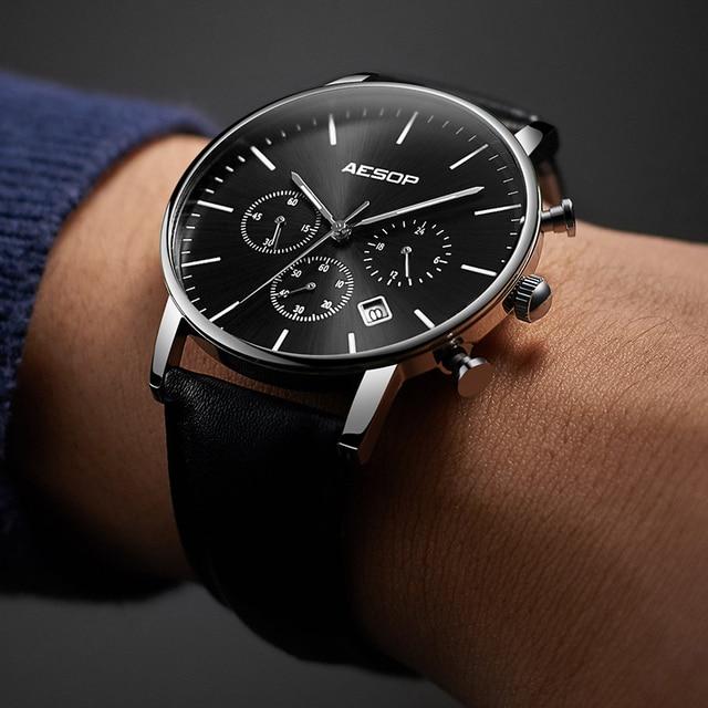 0883e05dfcc ESOPO Preto Sport Watch Men Quartz Relógio de Pulso Pulseira de Couro  Masculino Relógio de Pulso