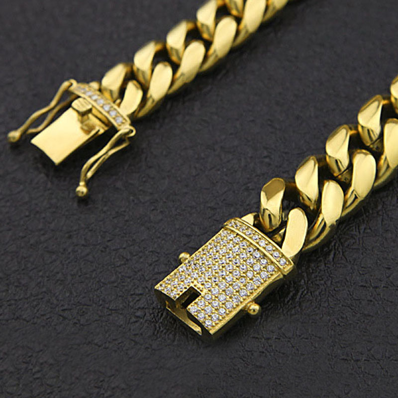 Chaîne cubaine en acier inoxydable avec Bling CZ cubique zircone fermoir fermoir de luxe collier 12/14mm Hip hop bijoux pour hommes - 3