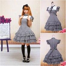 Kunden zu bestellen! V-991 Kurzen ärmeln knielangen Gothic Lolita Kleid schuluniform kleider Halloween Cocktailkleid
