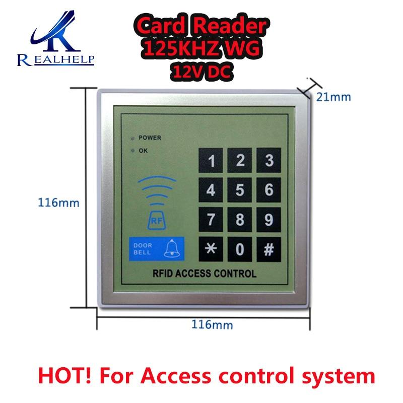 2000 Usuários de Cartão de IDENTIFICAÇÃO de Controle de Acesso RFID 125 KHZ Teclado Acesso WG e Código do sistema de controle de Acesso Leitor de cartão 12 V DC