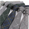 6cm Men's wool ties grid mens skinny ties slim gentleman wedding neckties for men