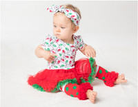 Christmas Outfit Baby Girl Rompers Leg Warmers Headband Clothing Set Princess Jumpsuit Lace Dress Xmas Party