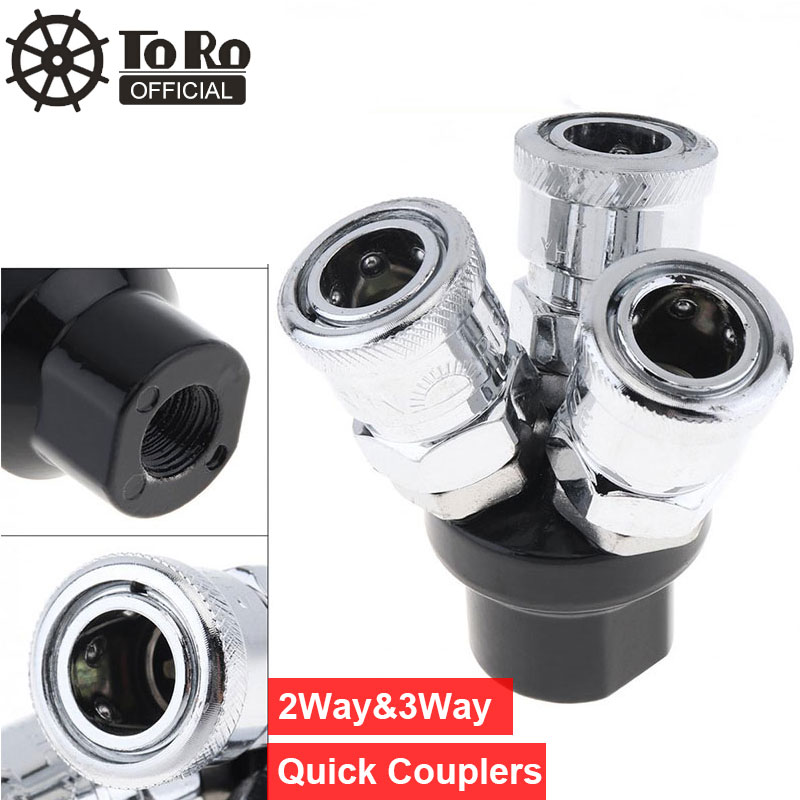 TORO High Speed Steel Pneumatic Fittings Multi Functional Air Coupler Three Way Air Hose Quick Connectors For Air Compressors