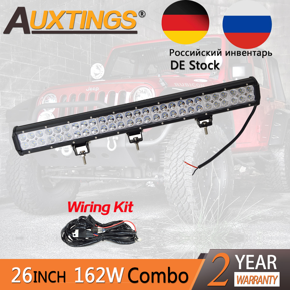 Auxtings 26inch 162W dual rows movable bracket IP67 waterproof 4x4 aluminum housing LED work light bar for truck offroad driving 2pcs lot ip67 single rows 120w led work light bar 4x4 accessory led driving lights black house