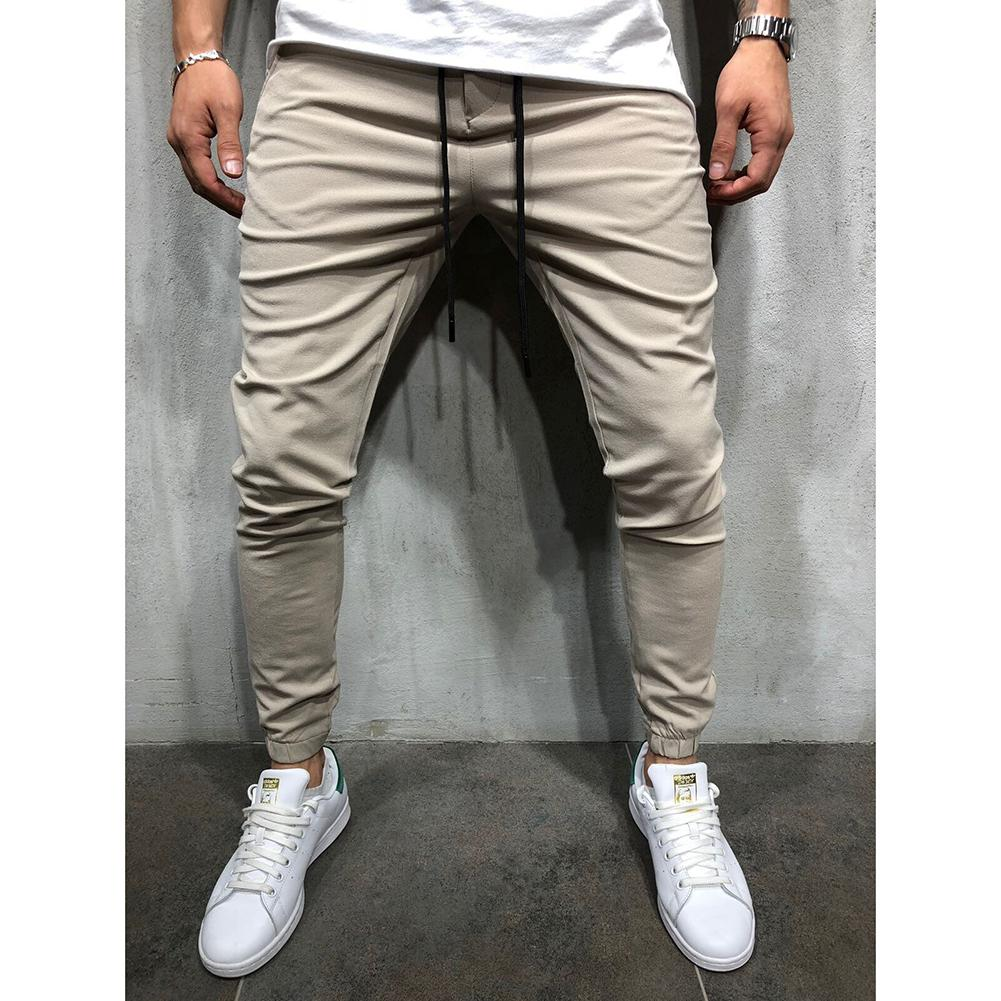 MISSKY Men Simple Casual Sport Pants Middle Waist Solid Color Slim Fit Trousers Running Joggers Gym Sweatpants