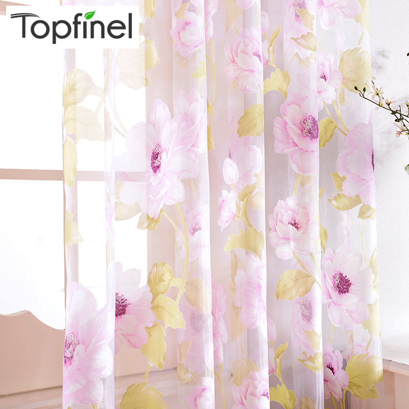 Top Finel New Brand Tulle för Windows Sheer Gardiner för Kök Vardagsrum Sovrum Print Sheer Voile Gardiner Brown Pink