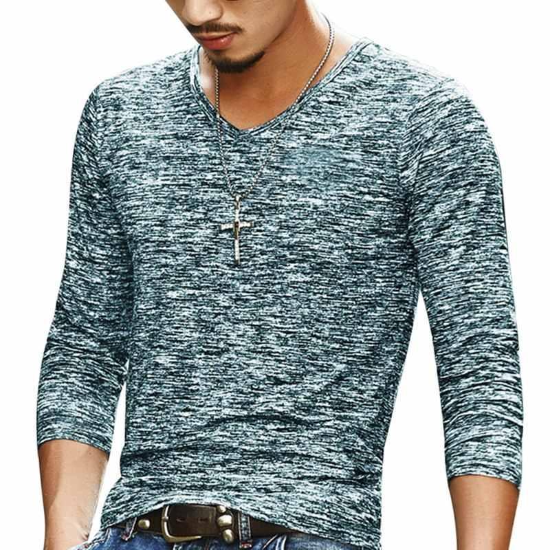 2019 Men Casual T เสื้อแขนยาว Tops Tees Mens เสื้อผ้าแฟชั่น V คอ Tshirt Undetshirts 3XL ขนาดใหญ่