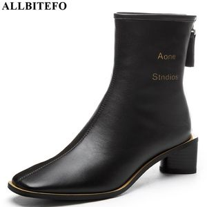 Image 3 - ALLBITEFO High quality genuine leather women boots Pure color Autumn Winter comfortable ankle boots fashion boots Square toe