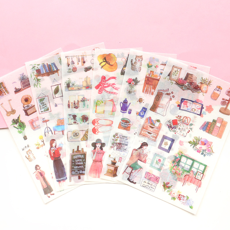 6 Pcs/lot Girls Daily Life Decorative Stickers Scrapbooking Stick Label Diary Stationery Album Bullet Journal Planners Stickers