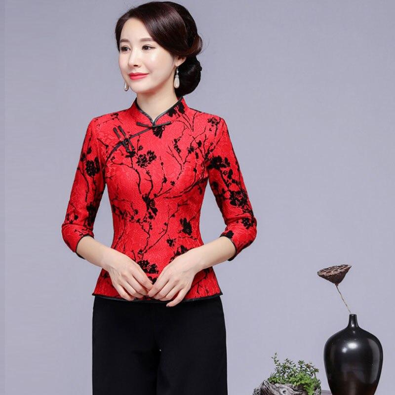 Rouge femmes chinois ethnique fleur dentelle Top 2018 automne nouveau Mandarin col chemises Blouse grande taille 4XL Tang vêtements de mariage