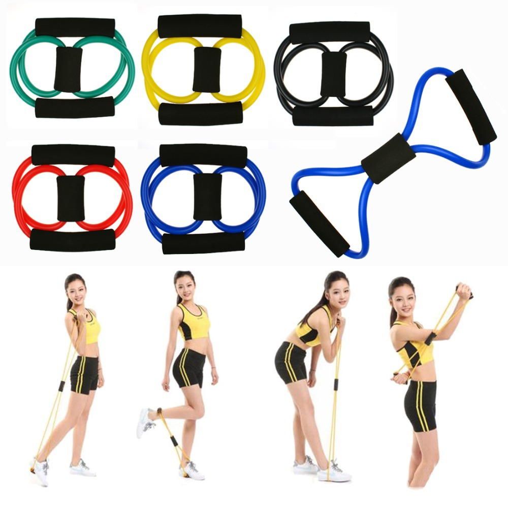 Resistance Band Yoga Pilates Abs Exercise Stretch Tube Workout