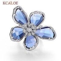 KCALOE Luxury Blue Transparent Crystal Big Flowers Rings For Women Rhinestone Wedding Engagement Ring Fashion Jewelry