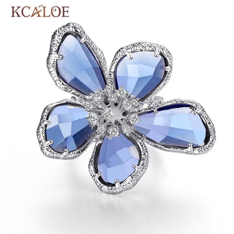 KCALOE Luxo Azul Cristal Transparente Grande Flores Anéis Para As Mulheres Anel De Noivado Casamento Strass Moda Jóias Anel
