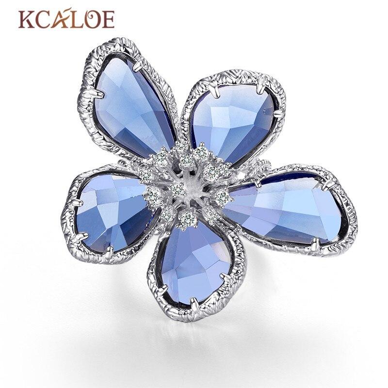 KCALOE de lujo azul transparente de cristal flores anillos para las mujeres de la boda anillo de compromiso joyería de moda Anel
