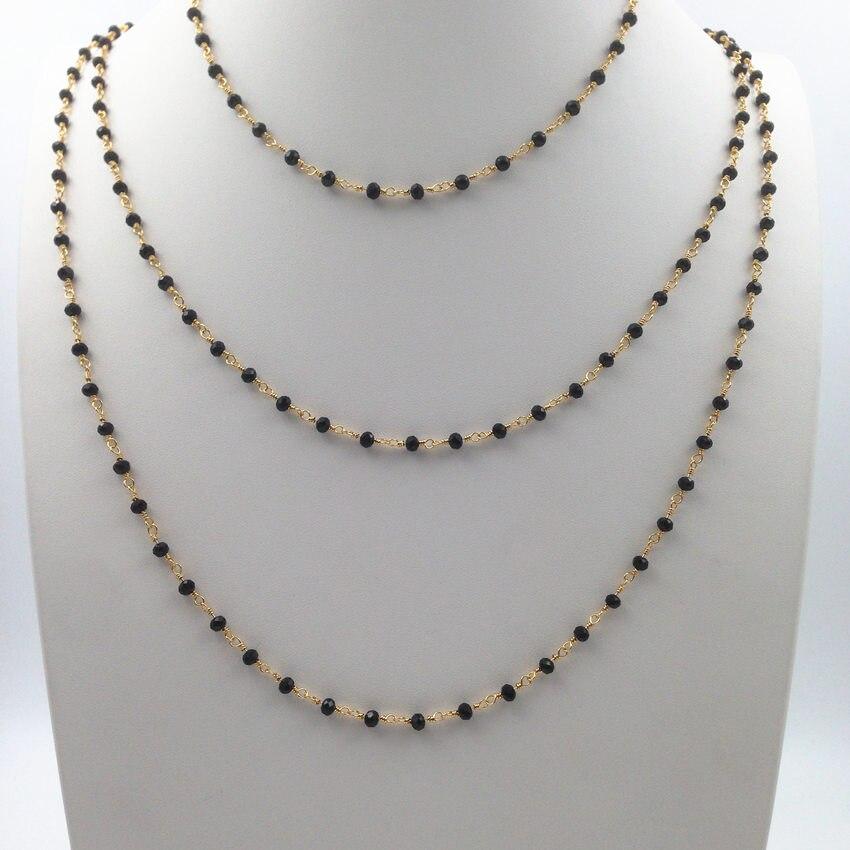 WKT N054 Wholesale Fashion Jewelry 10pcs black beads hand winding chain Beautiful bohemia anti fading beads