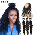 CARA Pre Plucked 360 Lace Frontal With Bundle 7A Loose Wave Lace Frontal Closure With Bundles Brazilian Virgin Hair With Closure