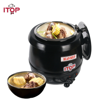 ITOP Electric Hot Plates Big Capacity 10L Soup Pot Food Warmer Adjustable Temperature Food Container For buffet Restaurant dh6p display food warmer for kfc restaurant
