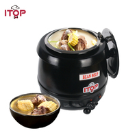 ITOP Electric Hot Plates Big Capacity 10L Soup Pot Food Warmer Adjustable Temperature Food Container For buffet Restaurant