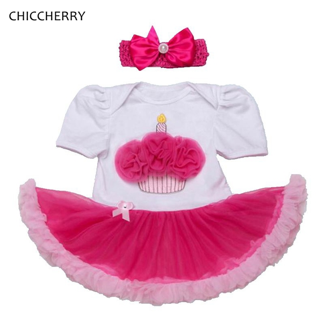 9120ed3e9 Lace Ruffle Cupcake Applique 1 Year Girl Baby Birthday Dress with ...