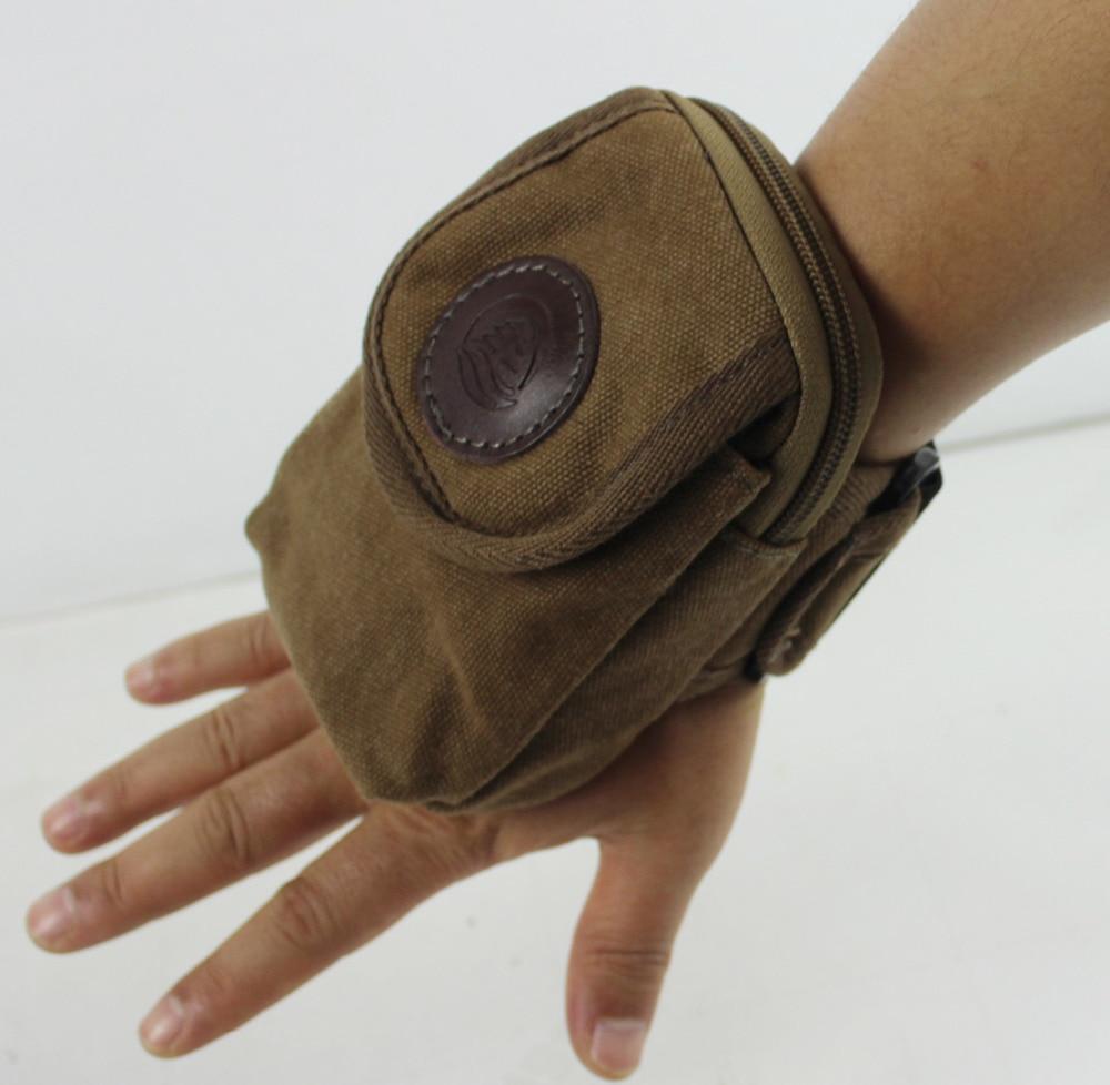 New Men Canvas Walking Pouch Purse Cell/Mobile Phone Case Cover Wrist Carpal Arm Band Bag double pocket mobile phone pouch arm bag with velcro strap black