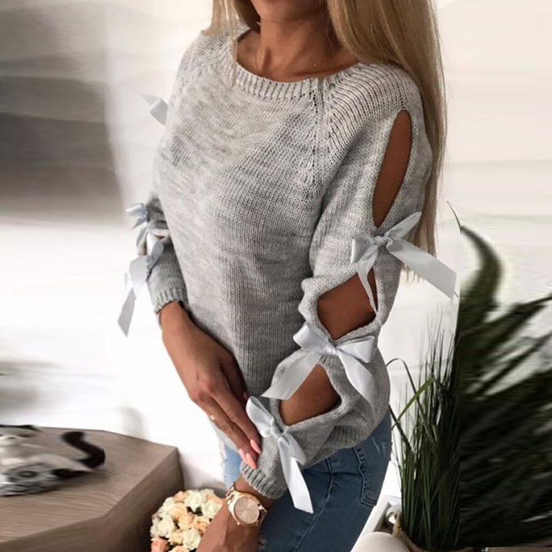 f2ed06eea2 2018 Autumn Top Women Bow Hollow Out Sweater Long Sleeve Knitted Pullover  Lace Up Sweaters Female Casual O Neck Pull Femme-in Pullovers from Women s  ...