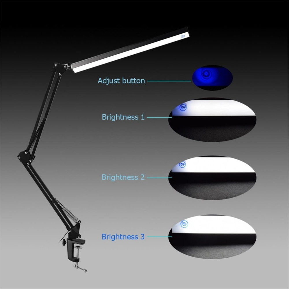 Aluminum Alloy Folding Clip-on USB LED Table Lamp Long Arm Touch Control Dimmable Desk Lamp Eye Protection Table Light