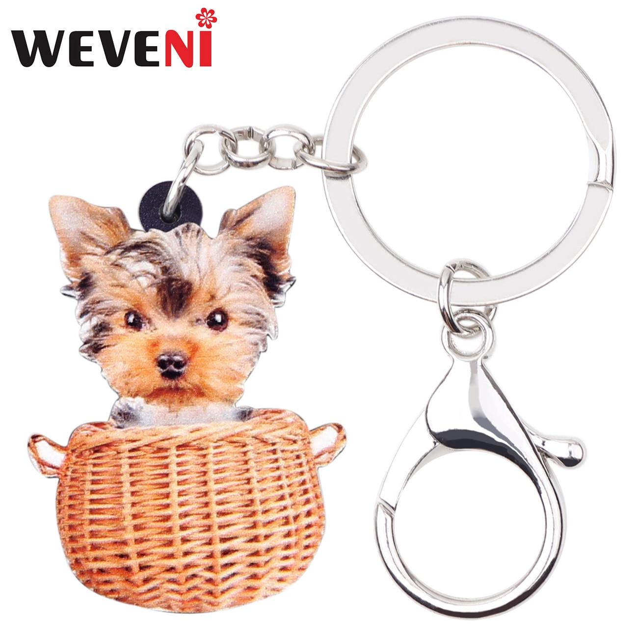 WEVENI Acrylic Basket Yorkshire Dog Key Chains Keychains Holder Cute Animal Jewelry For Women Girls Pet Lovers Bag Car Pendant