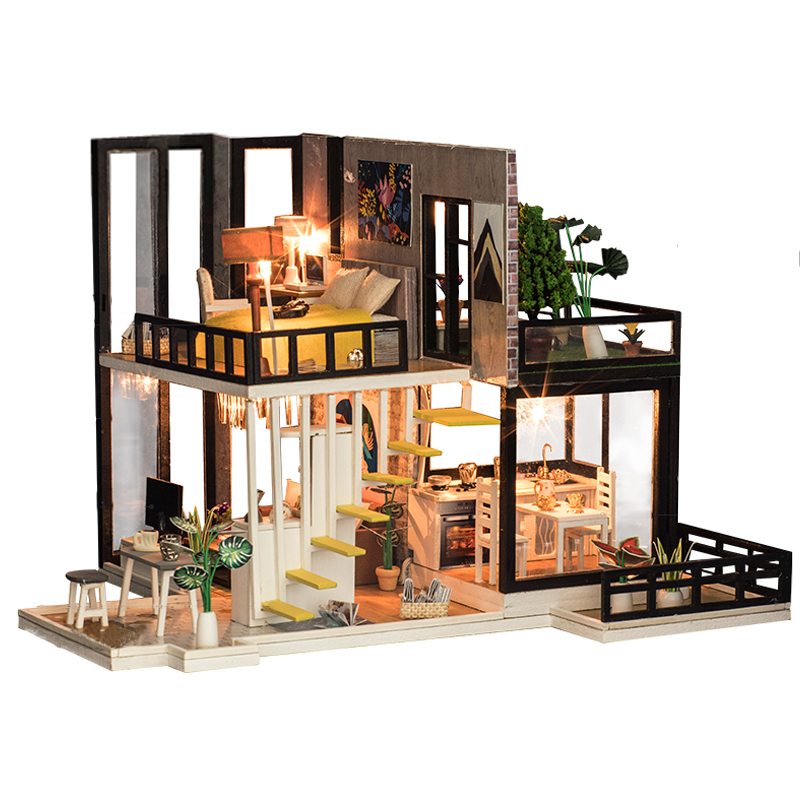 New 3D Miniaturas Doll House DIY Wooden dollhouse Miniature Doll Houses Furniture Kit Villa LED Lights Toys for Children Gifts