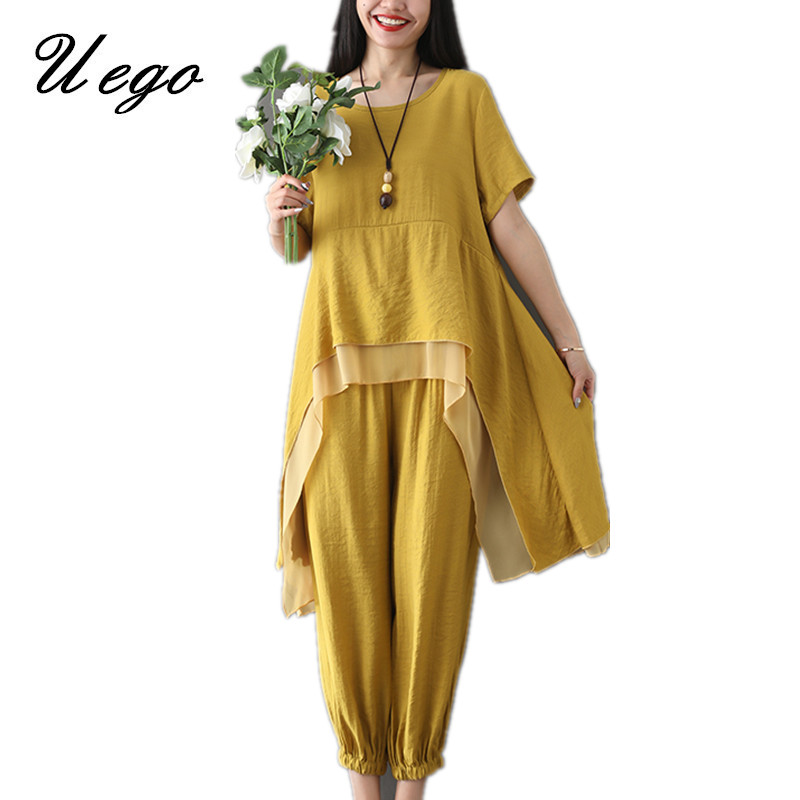 Uego Cotton Linen Women Sets Loose Tops+Pants Two Piece Sets Women Casual Set Plus Size 2019 New Lady Summer Clothes Suits Sets(China)
