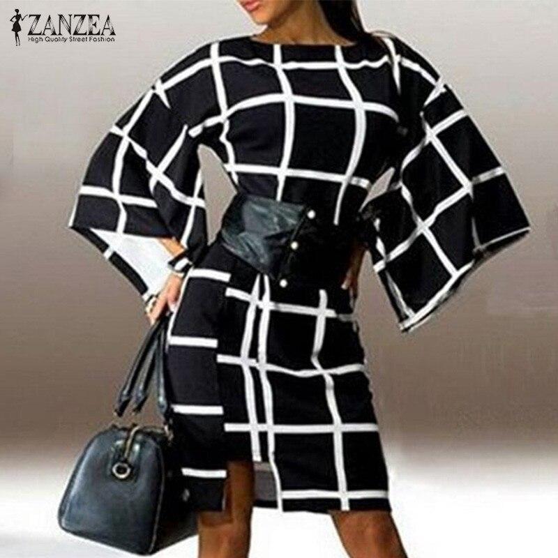 ZANZEA Women 2017 Autumn Elegant Plaid Retro Party Dress Ladies Flare Sleeve O Neck Casual Loose Back Zipper Vestidos Plus Size