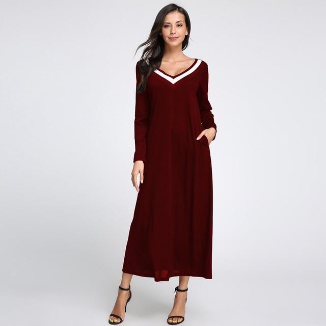 Celmia Plus Size Vestidos Women Elegent Long Maxi Dress 2018 Autumn Ladies Sexy V Neck Long Sleeve Casual Loose Party Dress 5XL