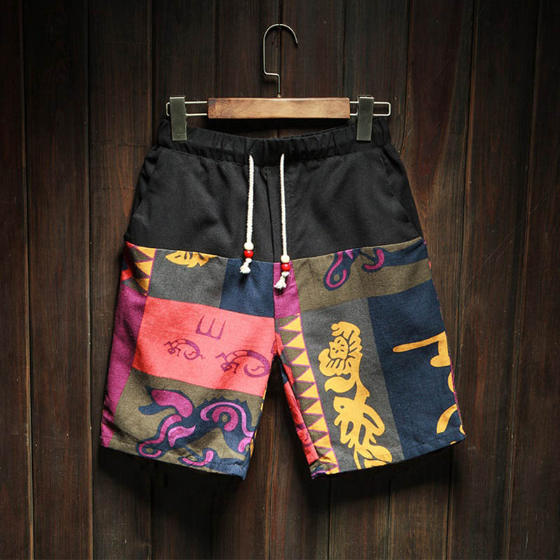 2017 New Fashion Brand Trend Summer Hot Men Beach Shorts Quick Dry Chinese Style Pattern Printing Board High Quality Shorts Men