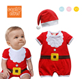 Fashion new year baby girls boys short sleeve red santa claus rompers + hats cute infant cotton clothes kids clothing wear