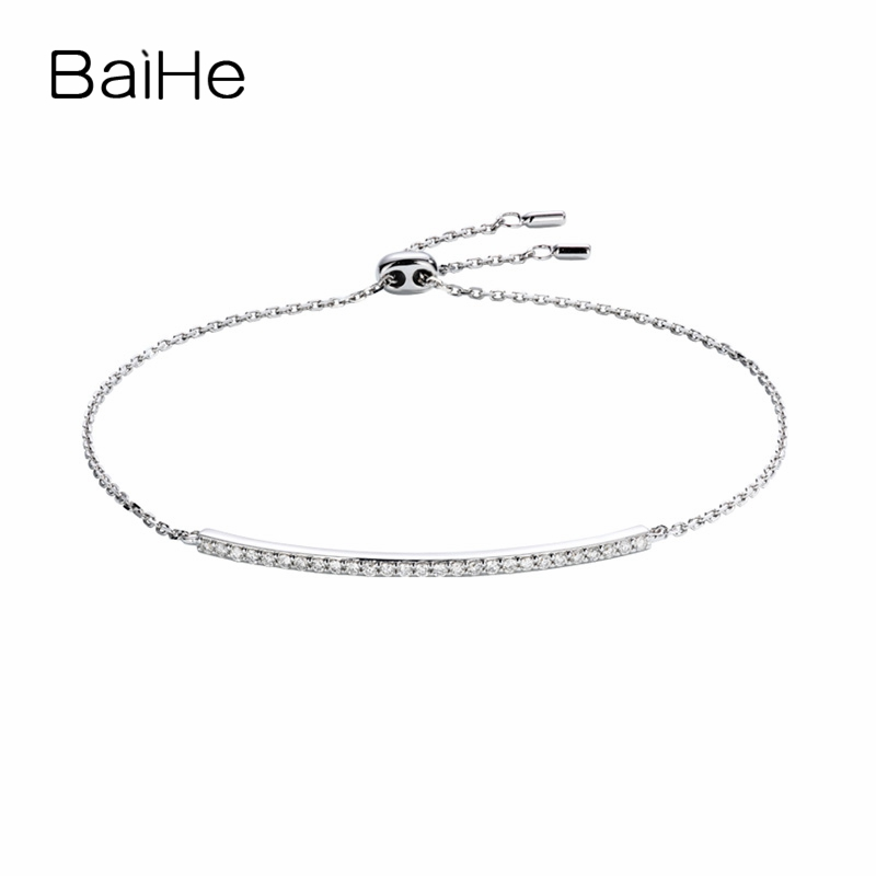 BAIHE Solid 18K White Gold 0.22ct Certified H/SI 100% Genuine Natural Diamonds Engagement Women Trendy Fine Jewelry Bracelet
