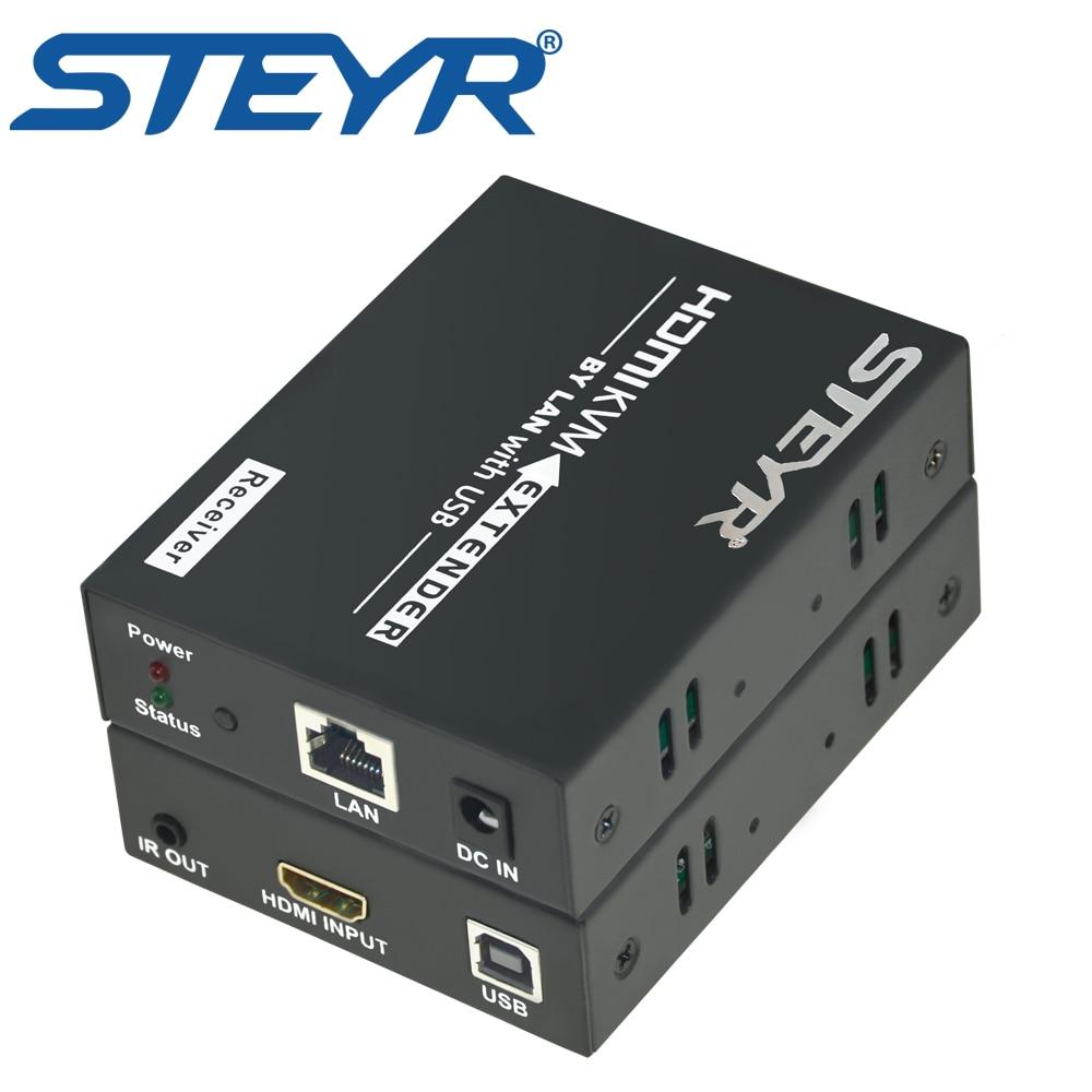 STEYR 395ft HDMI USB KVM Extender 120m Over Single Cat5e/6/7 Splitter USB K/M Ethernet Extender Extensor Support keyboard mouse mirabox kvm hdmi extender with lossless and non delay poe function kvm hdmi extender over cet5 cat5e up to 80 meters extender
