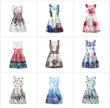 Europe and the United States new print in the big children's fluffy dress children's slim slimming sleeveless dress цены