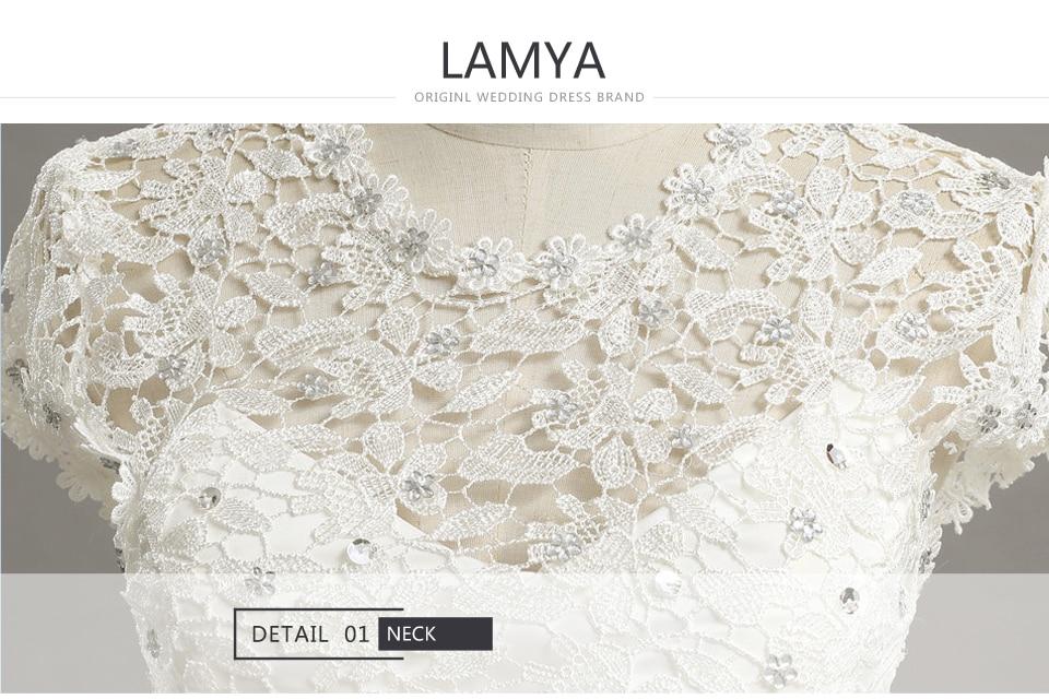 17 LAMYA Custom Size Romantic Lace Wedding Dress 2018 Fashionable Short Bride Gowns Cheap Bridal Dresses vestidos de novia