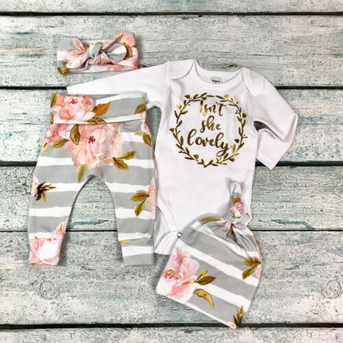 Newborn Baby Girls Clothes 3Pcs Romper Tops Flower Pants Headband Outfits