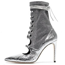 Sliver snake print ankle boots for summer women pointed toe thin heels shoes sock lace-up shoe fashion