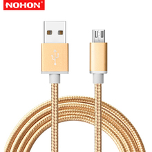 NOHON 2m Metal Braided Micro USB Data Cable For Huawei Mate 7 8 P7 P8 Honor 6 Plus 7C Redmi 5 5A Pro Phone Charging