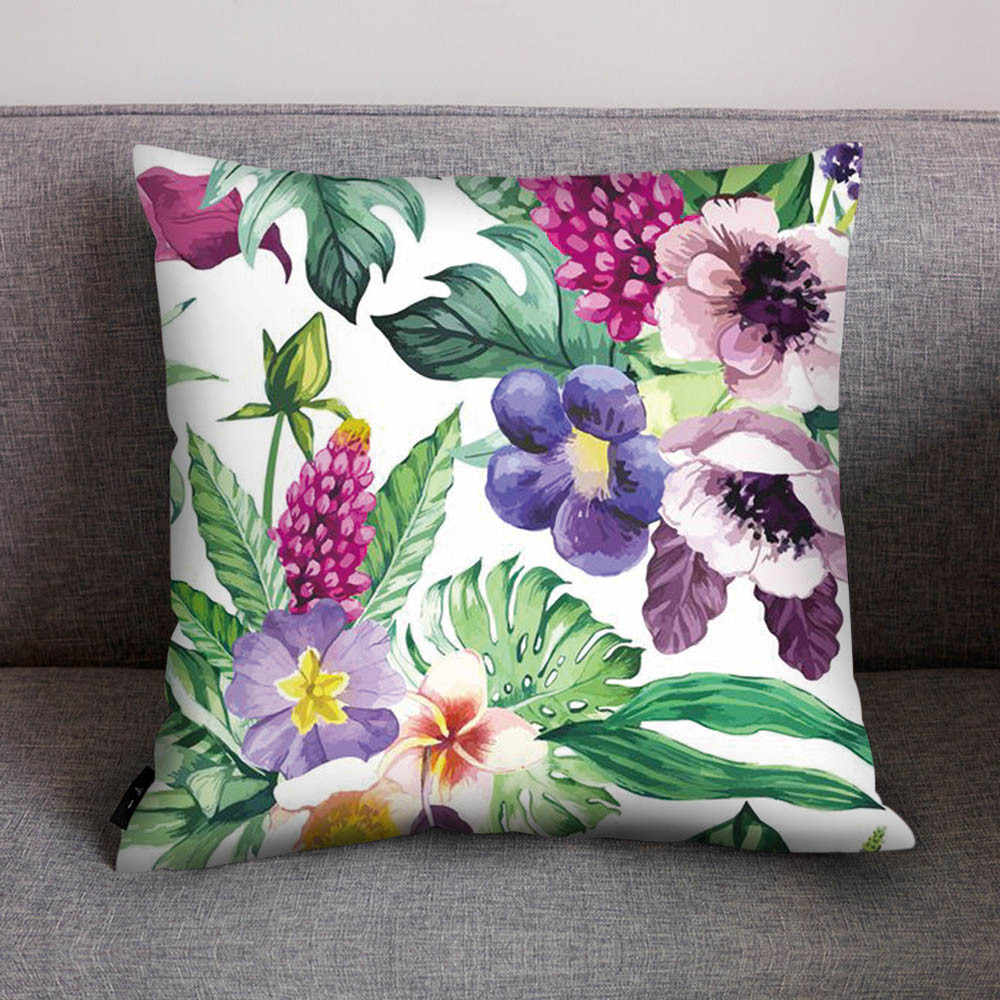 Nordic Style Print Pillowcase Polyester Sofa Car Cushion Cover Vintage Tropical Plants Leaf Green Leaves Flower Home Decor