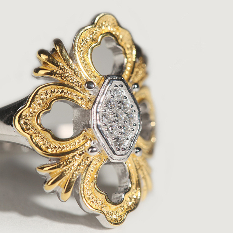 CMajor bijoux en argent massif croix fleur creux élégant dentelle mode Vintage anneaux pour les femmes - 2