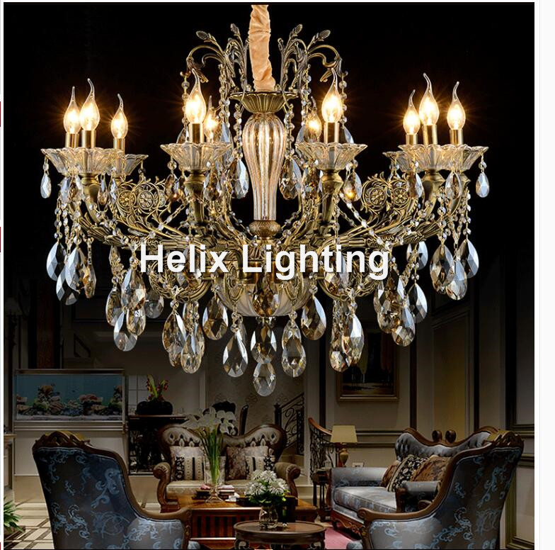 Free Shipping Bronze Finished Antique Crystal Chandelier Lingting Luxurious  AC LED Brass Crystal Lamp Lustre Suspension - Popular Bronze Antique Chandelier-Buy Cheap Bronze Antique